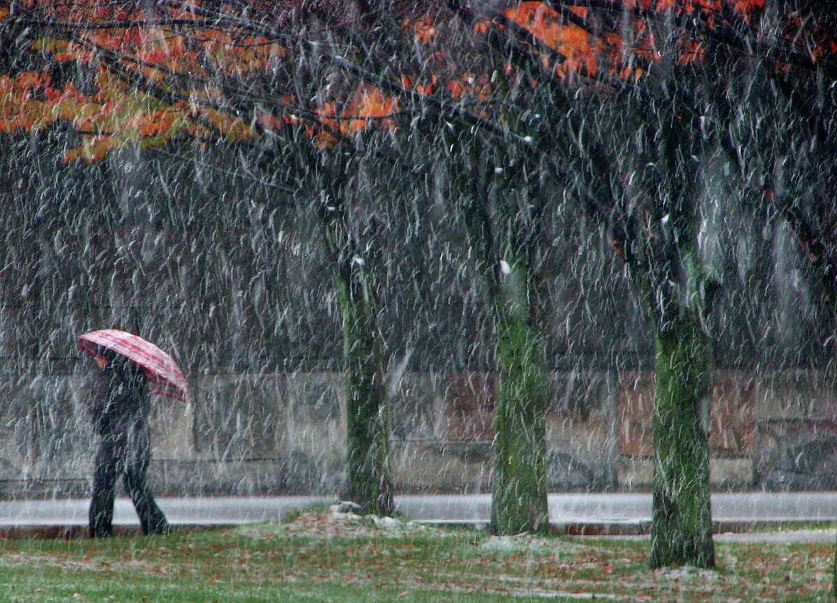 Snow begins to cover the walkways and grass during the first winter snow fall of the season in downtown Albany Monday, Nov. 8, 2010, in Albany, N.Y. (Paul Buckowski / Times Union)