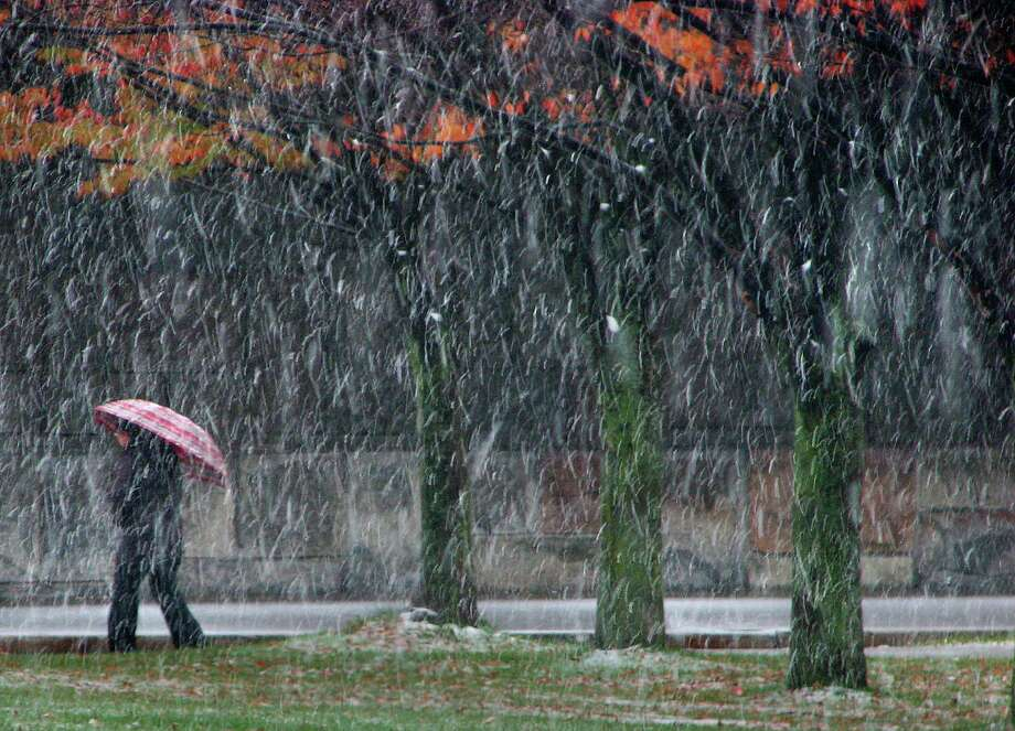 Snow begins to cover the walkways and grass  during the first winter snow fall of the season in downtown Albany Monday, Nov. 8, 2010, in Albany, N.Y.    (Paul Buckowski / Times Union) Photo: Paul Buckowski / 00010984A