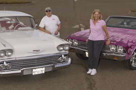 Photos of Joe Sommese, left, with his 1958 Chevrolet Impala hardtop and his wife, Judy, with her 1968 Chevrolet Chevelle Malibu Convertible at the Marin County Civic Center in Santa Venetia, California on July 23, 2014
