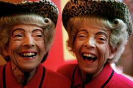 San Francisco's famous twins, Mirian and Vivian Brown laugh before breaking into song at Uncle Vito's. Mirian passed away Thursday Nov. 20, 2014. Her sister Vivian Brown passed away in 2013.