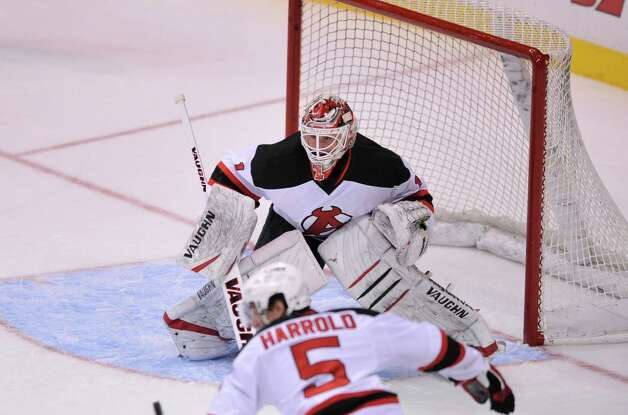 Goalie Keith Kinkaid of the Albany Devils protects the net in their game against the Portland Pirates at the Times Union Center on Sunday, Nov. 2, 2014, in Albany, N.Y.  (Paul Buckowski / Times Union) Photo: Paul Buckowski / 00029212C