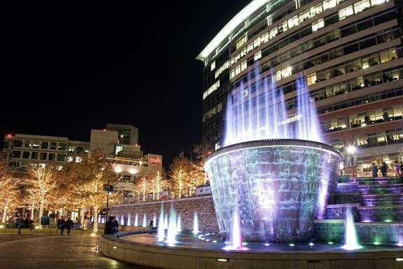 """The Fountains at Waterway Square in the Woodlands will begin dancing Nov. 22 to holiday favorites such as """"Feliz Navidad"""" and """"Jingle Bells."""" The 15-minute fountain shows can be viewed noon-2 p.m. and 6-11 p.m. on the weekdays and noon-11 p.m. on the weekends through Jan. 4."""