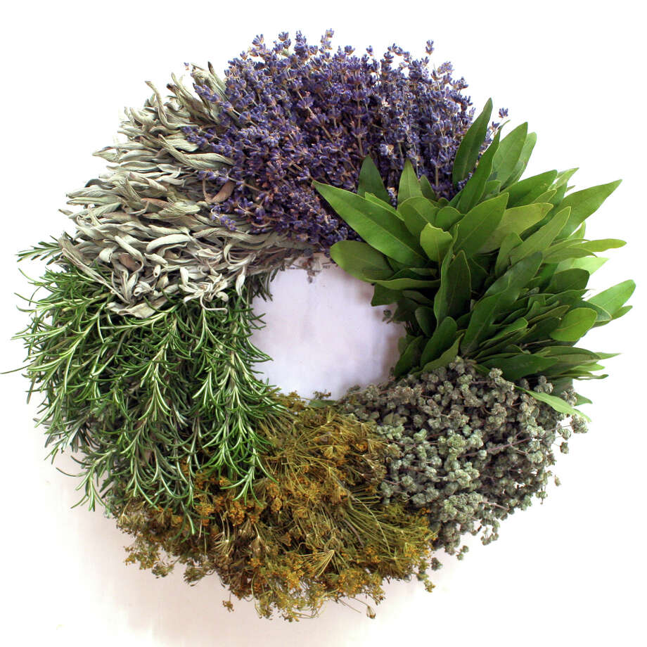 """The Kitchen Herb Wreath is among the items on display in the """"Holiday Hope"""" exhibit and sale in Carmel of wreaths made by Creekside Farms. Photo: Creekside Farms / ONLINE_YES"""