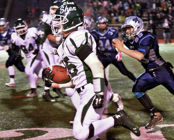 Shen's #25 Matt Taft scores a touch down during the Class AA quarterfinal football game against John Jay-East Fishkill at Dietz Stadium Saturday Nov. 15, 2014, in Kingston, NY.   (John Carl D'Annibale / Times Union) Photo: John Carl D'Annibale / 00029472A