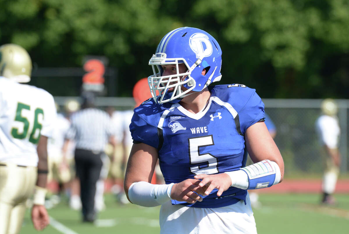Darien's George Reed (5) on the field during the second quarter of the football game against Bassick High School at Darien on Saturday, Sept. 27, 2014.