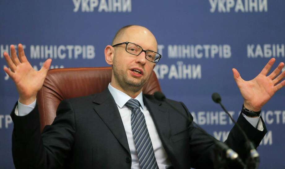 Ukrainian Prime Minister Arseniy Yatsenyuk speaks to media during his press conference in Kiev, Ukraine, Thursday, Nov. 20, 2014. (AP Photo/Efrem Lukatsky) ORG XMIT: XEL102 Photo: Efrem Lukatsky / AP