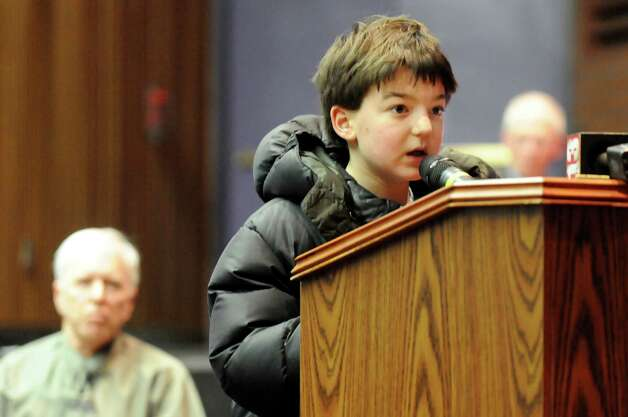 Resident Zachary Baskin, 10, voices concern about walking safely to school during a public hearing on a proposed 137,000 square-foot Walmart on Thursday, Nov. 20, 2014, at Ballston Spa High in Ballston Spa, N.Y. (Cindy Schultz / Times Union) Photo: Cindy Schultz / 00029572A