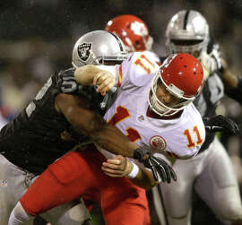 Khalil Mack got his sole sack against the Chiefs' Alex Smith but is a prime run-stopper.
