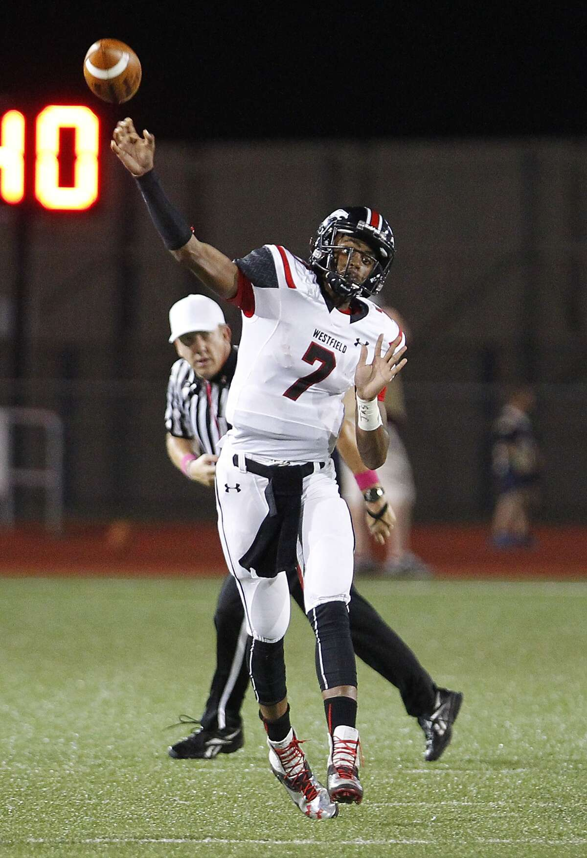 Spring Westfield quarterback Dillon Sterling-Cole fires off a pass as the Mustangs took on Klein Collins at Klein Memorial Stadium on October 10, 2014.
