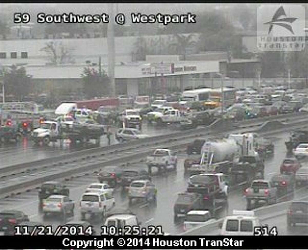 Traffic was snarled Friday morning on both ends of U.S. 59 after two separate crashes.