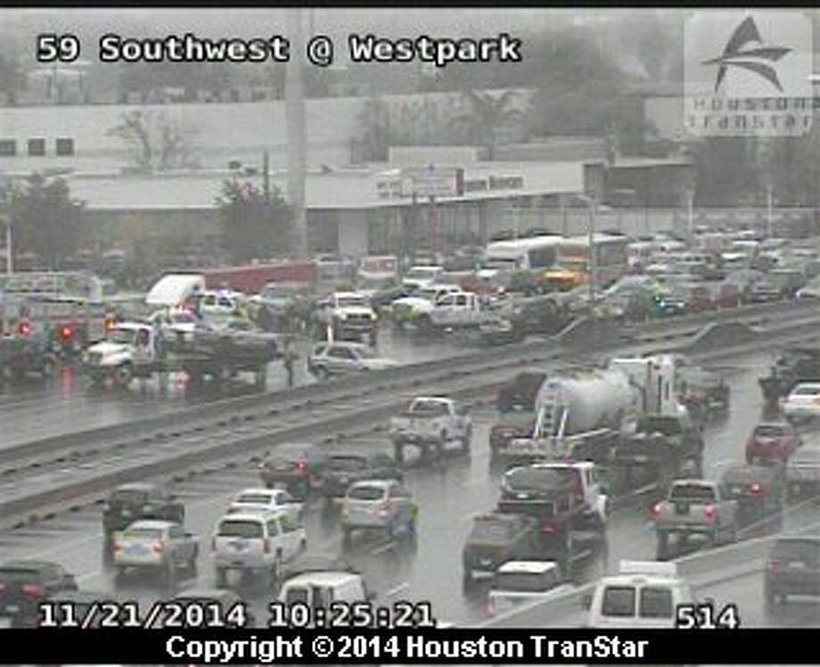 Traffic was snarled Friday morning on both ends of U.S. 59 after two separate crashes. Photo: Houston TranStar
