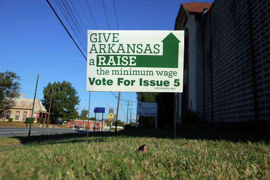 Even as voters turned out Democratic legislators on Election Day, minimum wage ballot measures passed in Alaska, Arkansas, Nebraska and South Dakota, leaving some Democrats struggling to explain the contradiction. Photo: STEPHEN B. THORNTON / STEPHEN B. THORNTON / New York Times / NYTNS