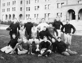 1895 (Cal 6, Stanford 6): Stanford football team members pose on their campus during the fifth meeting of the Big Game. There were just 44 U.S. states, and Grover Cleveland was president. He had an awesome mustache, too. Look it up.