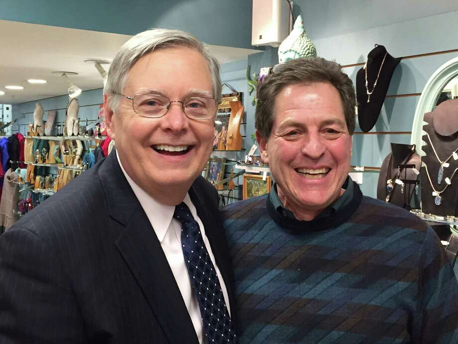 Stamford Mayor David Martin and his Chief of Staff, Michael Pollard, at Agabhumi's 12th anniversary celebration last week on Magee Avenue in Stamford. Photo: Contributed Photo / Greenwich Time Contributed