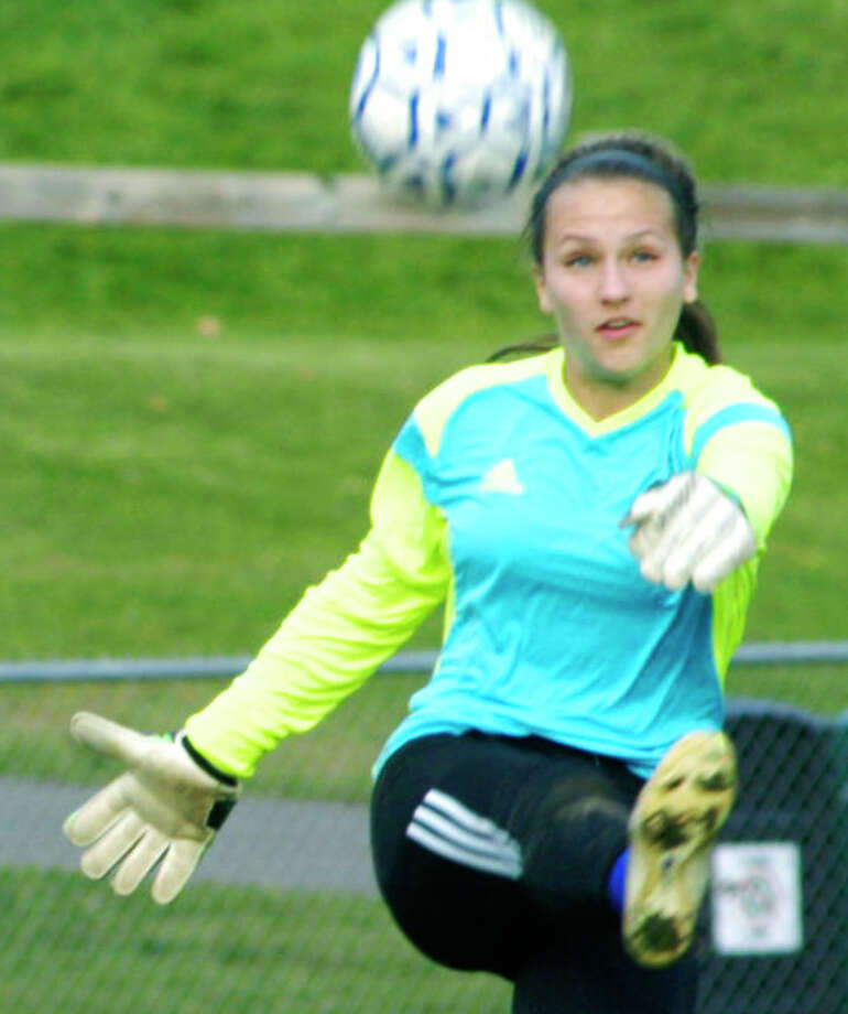 The athletic ability and savvy of Spartan goalkeeper Samantha Moravsky play a key role as Shepaug Valley High School girls' soccer outplays Thomaston, 5-0, Oct. 22, 2014 in Washington. Photo: Norm Cummings / The News-Times