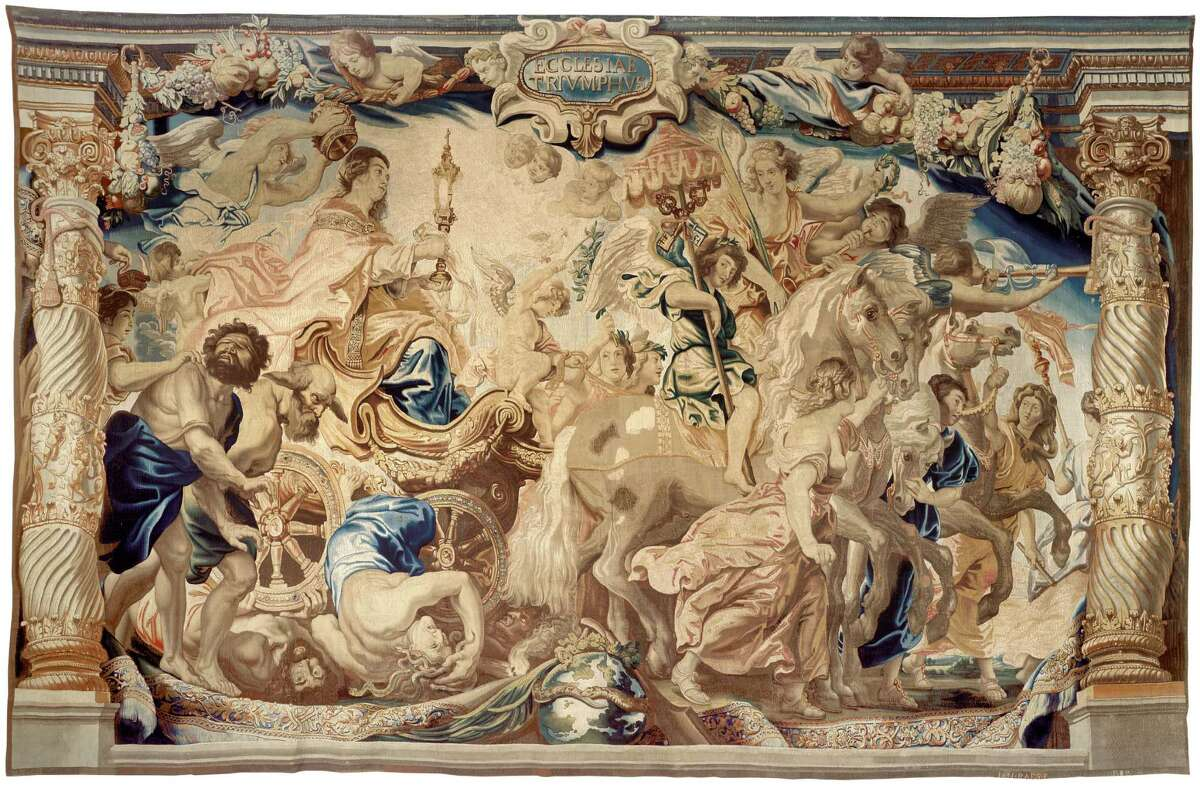 """""""The Triumph of the Church,"""" a tapestry woven by Jan Raes I after designs by Peter Paul Rubens, is among works coming to the Museum of Fine Arts, Houston Feb. 15-May 10 in the exhibition """"Spectacular Rubens."""""""
