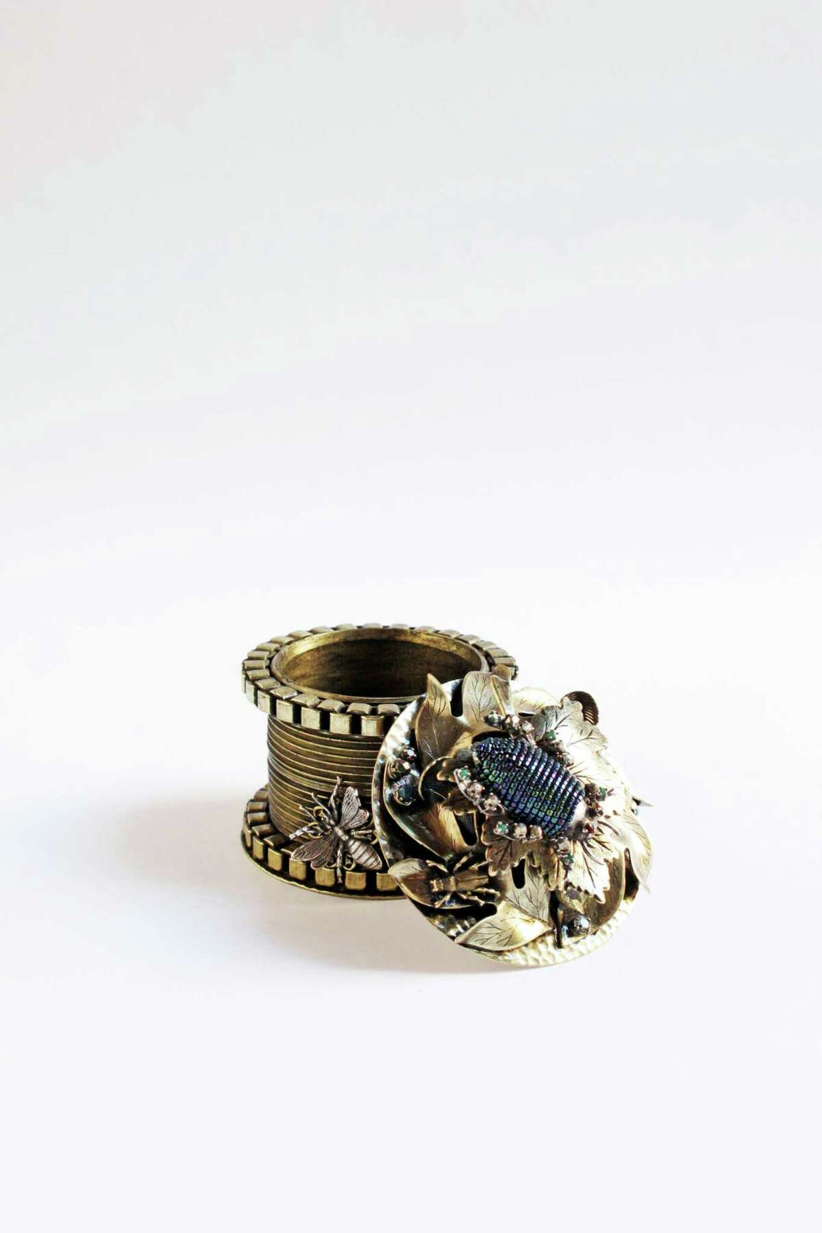 Miniature trinket box with hand-detailed beading and Swarovski crystals, $655