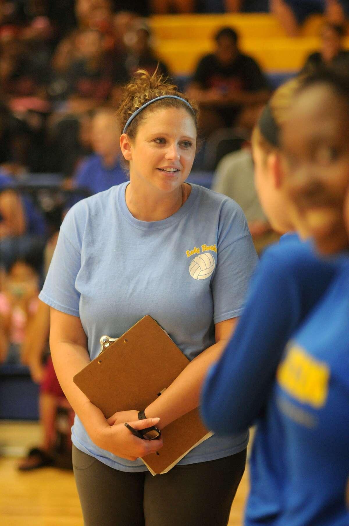 Klein Head Volleyball Coach Monica Shallenberger coaches up her team during their scrimmage against Mayde Creek at Klein High School.