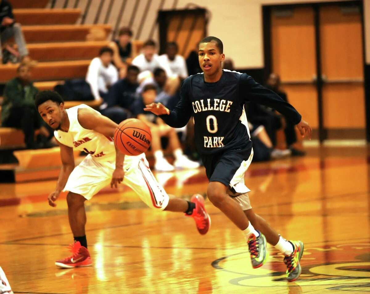 Leading the fast break this season for College Park is Kyle Robertson.