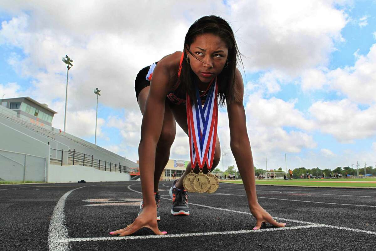 Texas City's Asa Garcia is the Houston Chronicle's All-Greater Houston girls track athlete of the year on May 20, 2014, in Texas City, Tx.