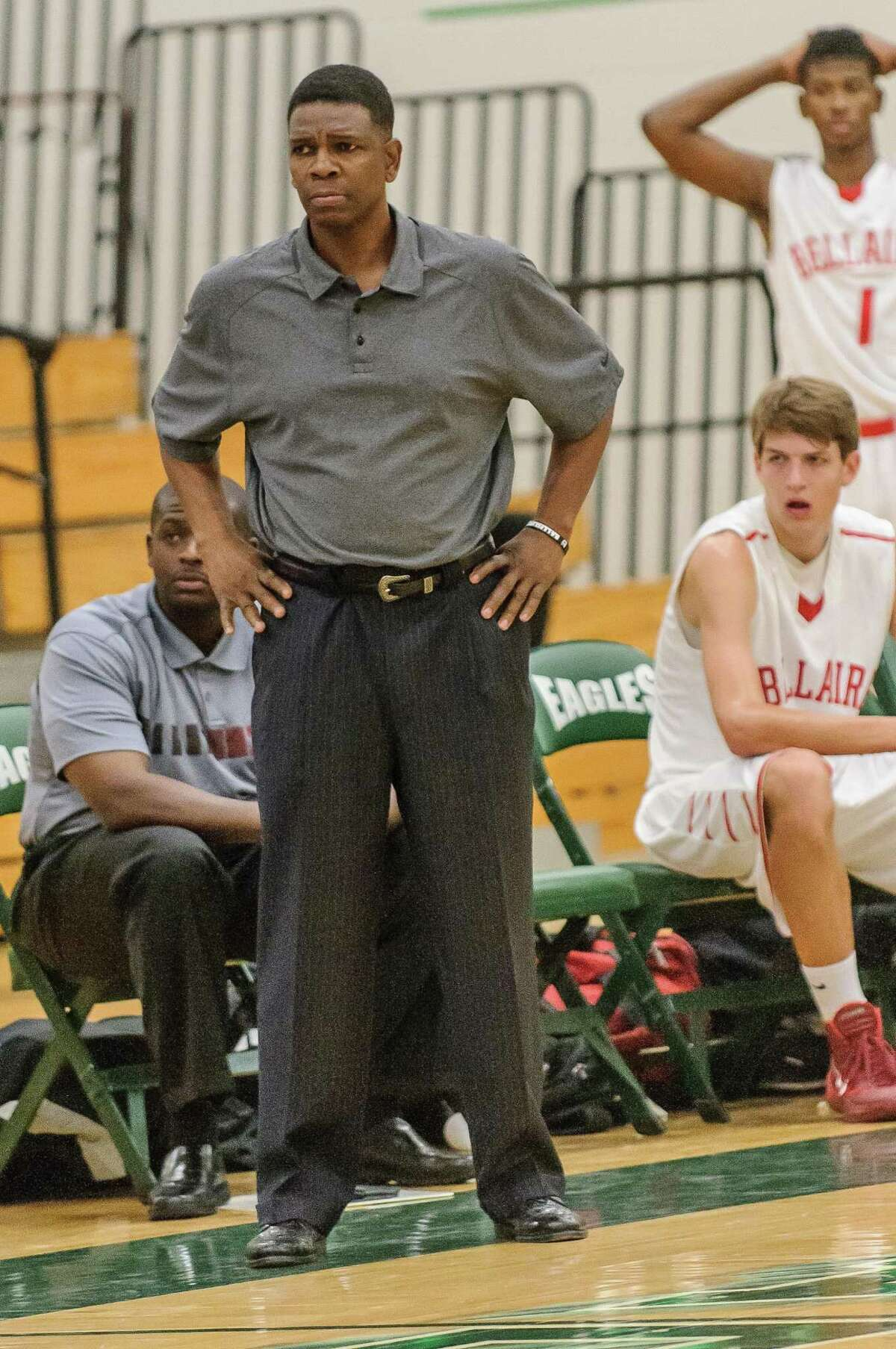 Bellaire head basketball coach Bruce Glover will lead the Cards against Westbury Saturday.
