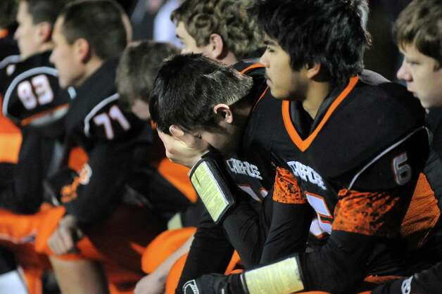 Cambridge's Ryan Telford, center, reacts to his team's 47-14 loss to Chester in their Class D semifinal football matchup on Friday, Nov. 21, 2014, at Dietz Stadium in Kingston, N.Y. (Cindy Schultz / Times Union) Photo: Cindy Schultz / 00029565A