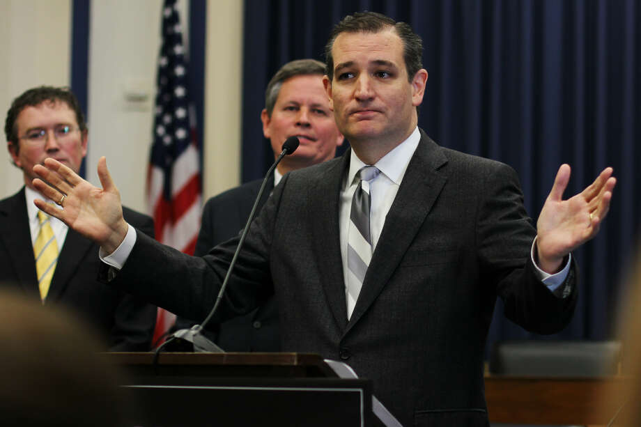 Sen. Ted Cruz, R-Texas, gestures during a news conference in the Rayburn House Office Building where he and other Republicans decried the Marketplace Fairness Act Tuesday, Nov. 18, 2014. Conner Radnovich/Chronicle Photo: Conner Radnovich / Chronicle
