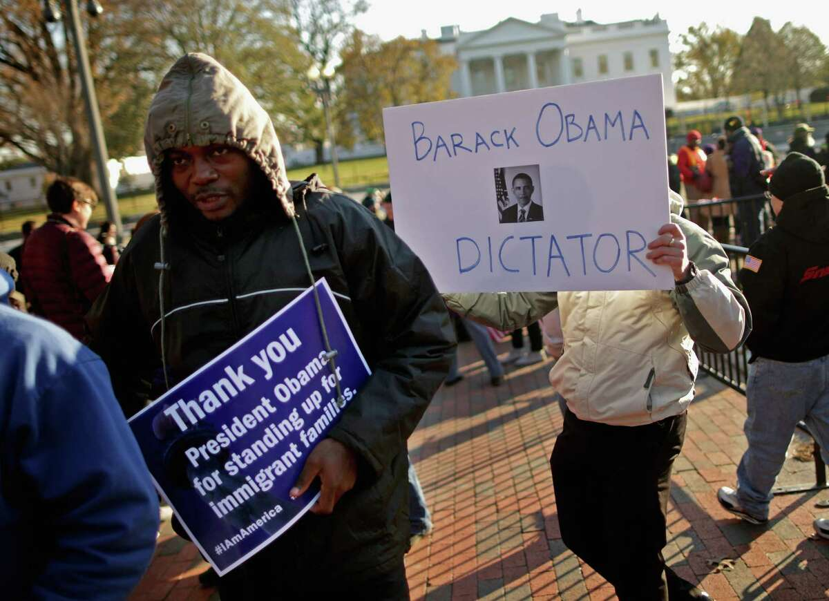 Not everyone rallying Friday near the White House was showing support for the new immigration policy.