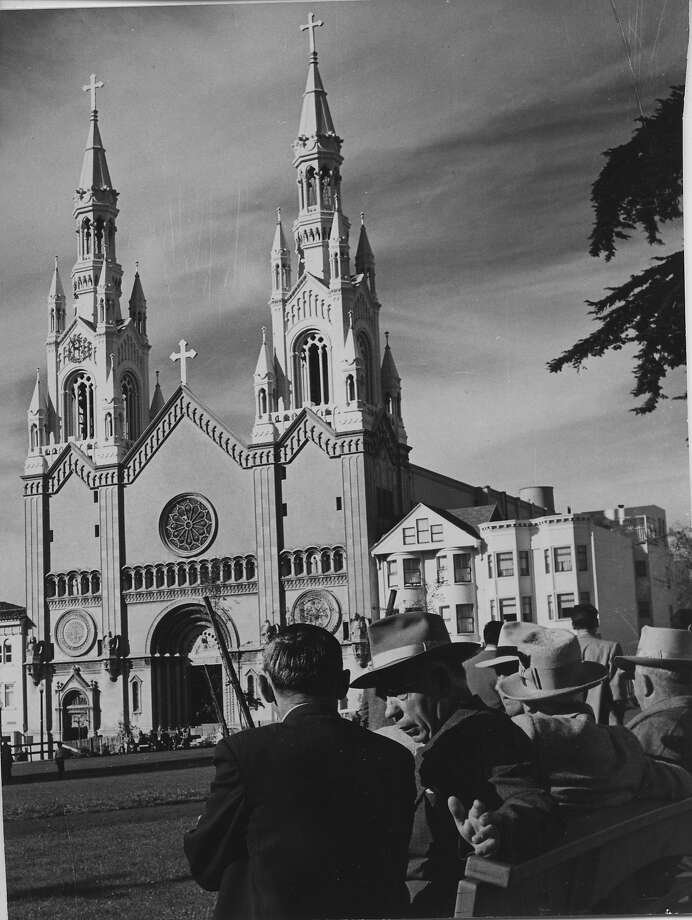 Saints Peter and Paul Church on Washington Square Park in San Francisco.