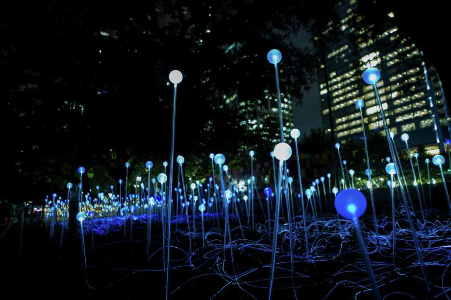 """Field of Light,"" a site-specific art installation that is the first commission of a new public art program at Discovery Green. The installation is by artist Bruce Munro. Friday, Nov. 21, 2014, in Houston. Photo: Marie D. De Jesus, Houston Chronicle / © 2014 Houston Chronicle"