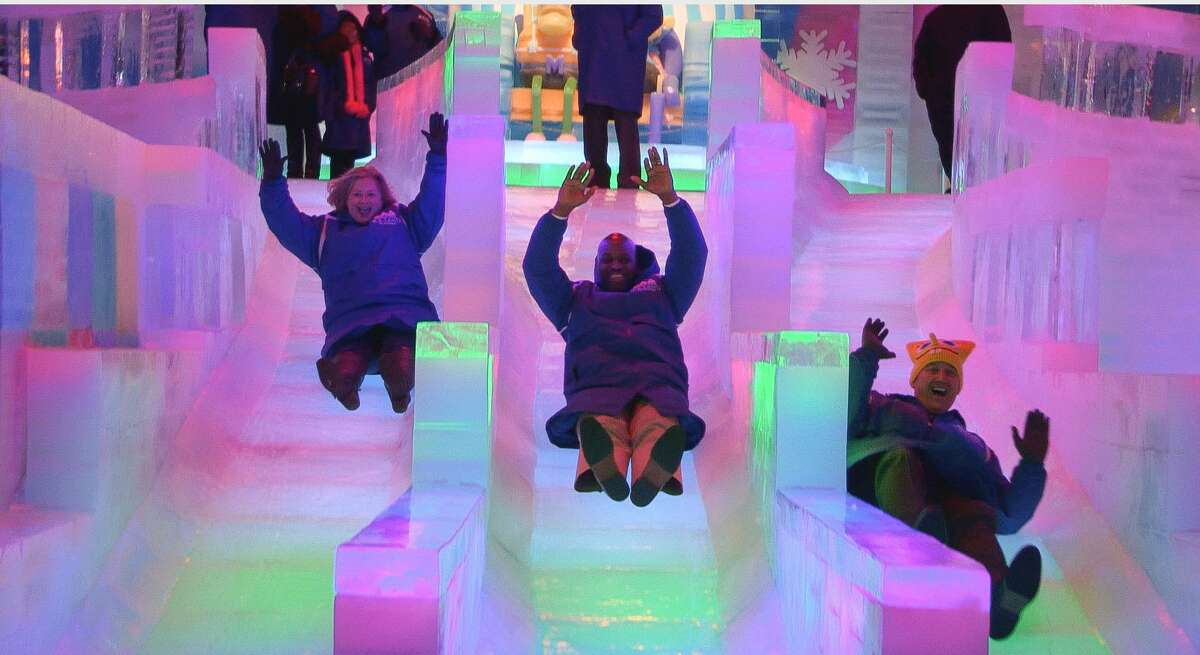 The highly anticipated ICE LAND Ice Sculptures with SpongeBob SquarePants opened at Moody Gardens in Galveston with a ceremonial first slide by dignitaries.