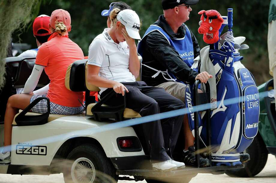 It was a rough day for The Woodlands' Stacy Lewis, center, who had a 74 on Friday at the CME Globe Tour Championship to fall six shots behind co-leaders Carlota Ciganda and Julieta Granada. Photo: Corey Perrine, MBO / Naples Daily News