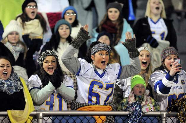 Queensbury's fans cheer for their team during their Class A football state semifinal against Cornwall on Friday, Nov. 21, 2014, at Dietz Stadium in Kingston, N.Y. (Cindy Schultz / Times Union) Photo: Cindy Schultz / 00029566A