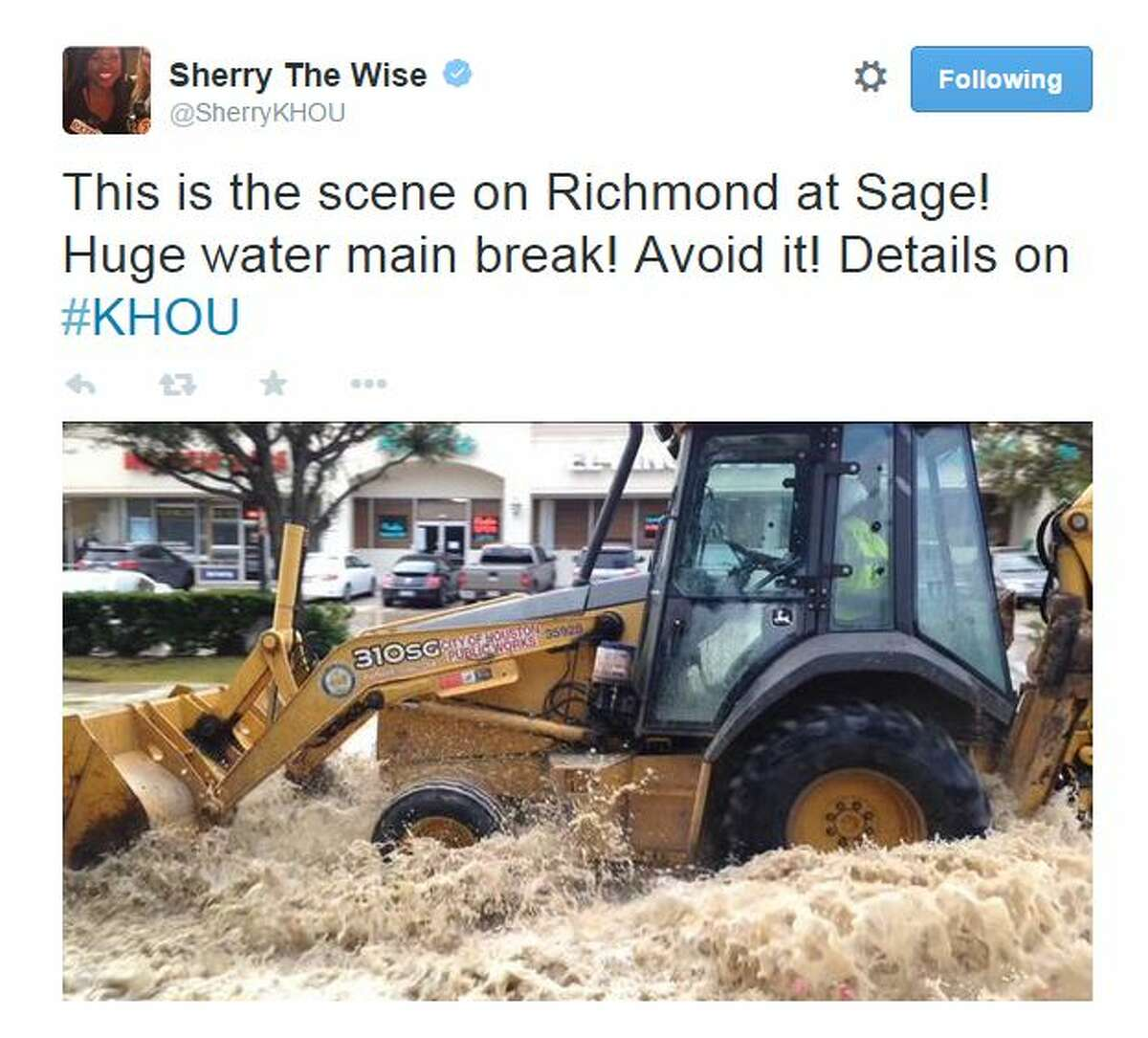 A water main break along Richmond has shut down a portion of the street from Rice to Sage on Saturday morning.