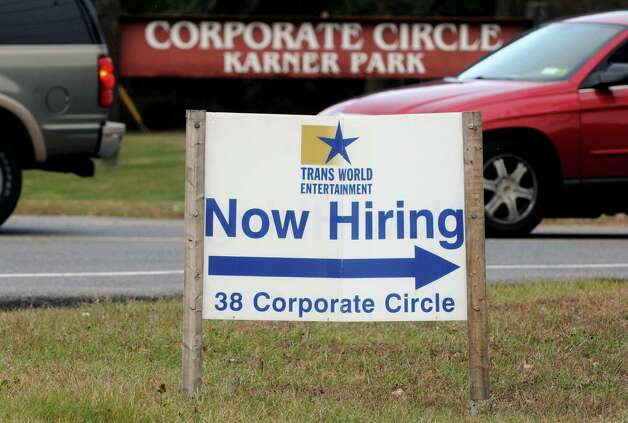Help wanted sign in front of Trans World Entertainment on Thursday Nov. 20, 2014 in Albany, N.Y. (Michael P. Farrell/Times Union) Photo: Michael P. Farrell / 00029581A