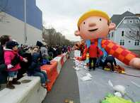 The Bob the Builder balloon is inflated during the Giant Balloon Inflation Party in Stamford, Conn., on Saturday, November 22, 2014.
