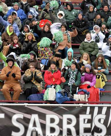 Schalmont  fans cheer their team during the Class B semifinal against Marlboro at Dietz Stadium Saturday Nov. 22, 2014, in Kingston, NY.  (John Carl D'Annibale / Times Union) Photo: John Carl D'Annibale / 00029582A