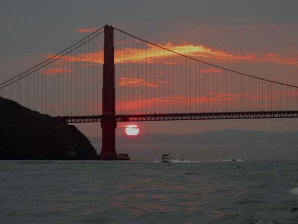 No. 1 fishing: Sunrise at the Golden Gate, viewed from the Wacky Jacky heading out to sea