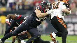 While perhaps not old friends, Texans defensive end J.J. Watt and Bengals quarterback Andy Dalton, right, have run into each other a few times.