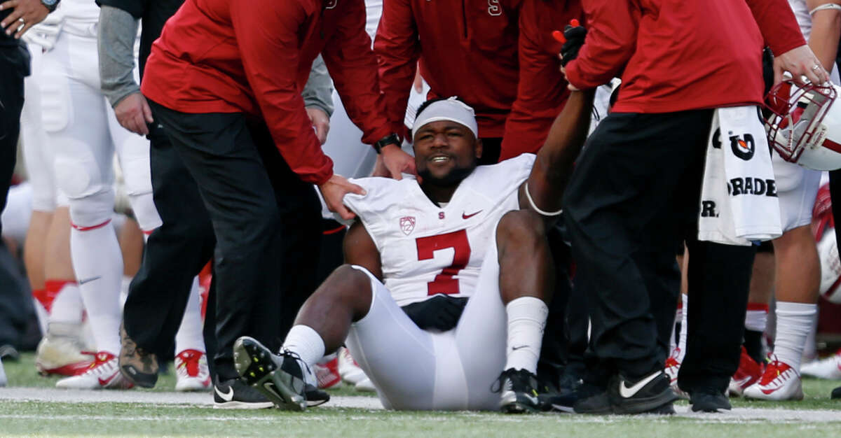 Ty Montgomery was injured with a sprained shoulder suffered in the first quarter of Stanford's 38-17 win over Cal.