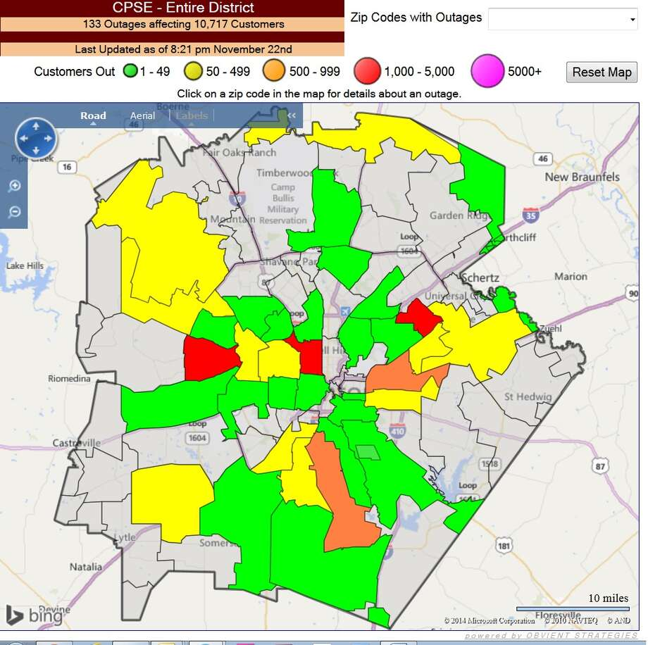 cps energy outage map photo courtesy cps energy. storms roll into san antonio severe thunderstorm warning extended