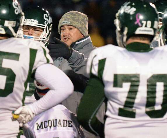 Shen head coach and players during a time out in their Class AA state semifinals against Newburgh Free Academy at Dietz Stadium Friday Nov. 22, 2014, in Kingston, NY.  (John Carl D'Annibale / Times Union) Photo: John Carl D'Annibale / 00029583A