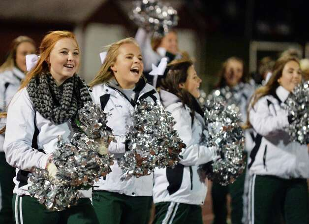 Shen cheerleads urge on their team during the Class AA state semifinals against Newburgh Free Academy at Dietz Stadium Friday Nov. 22, 2014, in Kingston, NY.  (John Carl D'Annibale / Times Union) Photo: John Carl D'Annibale / 00029583A