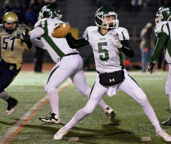 Shen quarter back #5 Ryan Van Galen throws a pass during the Class AA state semifinals against Newburgh Free Academy at Dietz Stadium Friday Nov. 22, 2014, in Kingston, NY.  (John Carl D'Annibale / Times Union) Photo: John Carl D'Annibale / 00029583A