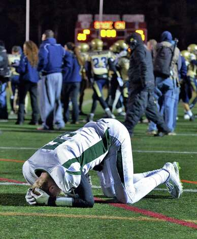 Shen quarter back #5 Ryan Van Galen reacts to their overtime loss to Newburgh Free Academy in the Class AA state semifinal game at Dietz Stadium Friday Nov. 22, 2014, in Kingston, NY.  (John Carl D'Annibale / Times Union) Photo: John Carl D'Annibale / 00029583A
