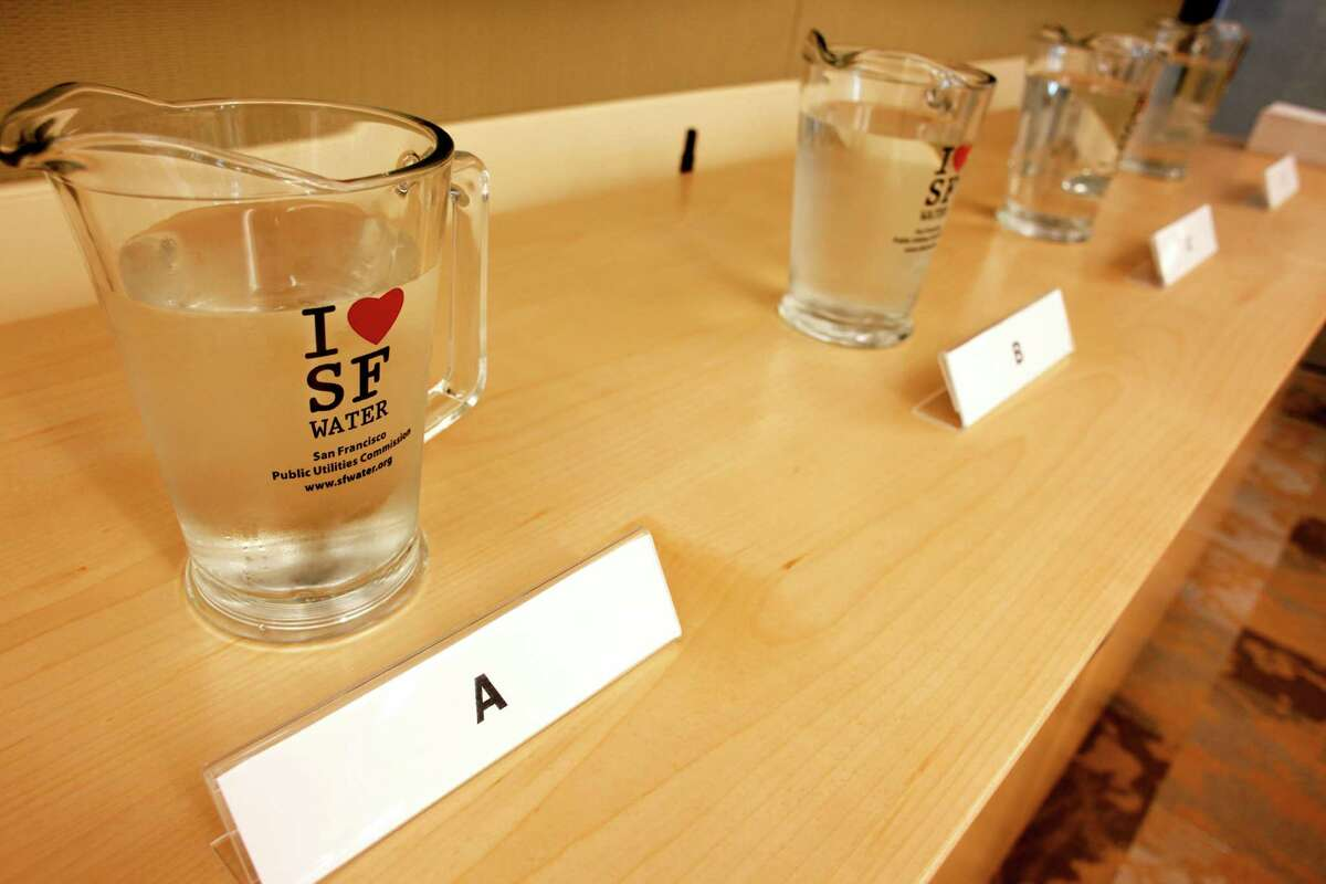 Four pitchers of water were prepared for a taste test at the San Francisco Public Utilities Commission.