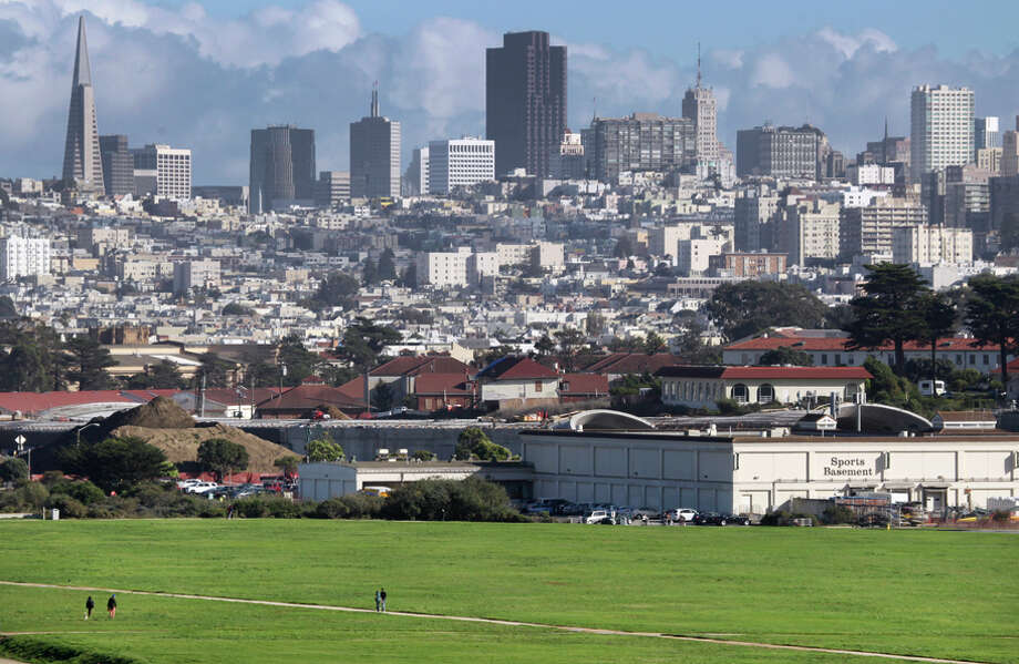 Construction of the Presidio Parkway project continues behind Crissy Field and the Sports Basement in San Francisco. Photo: Paul Chinn / The Chronicle / ONLINE_YES