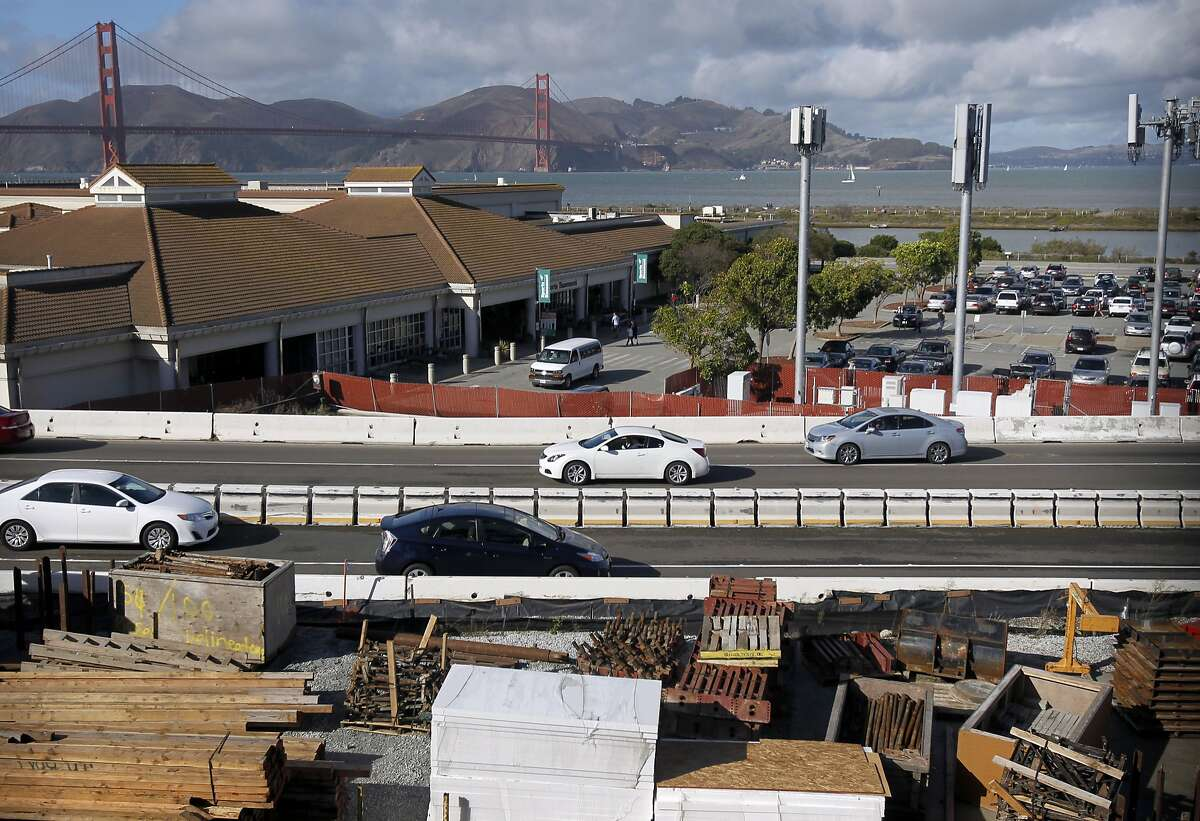 Building material for the Presidio Parkway project is stored across from the Sports Basement store in San Francisco, Calif. on Saturday, Nov. 22, 2014. Green landscaping will cover two sets of tunnels linking the Main Post with Crissy Field.