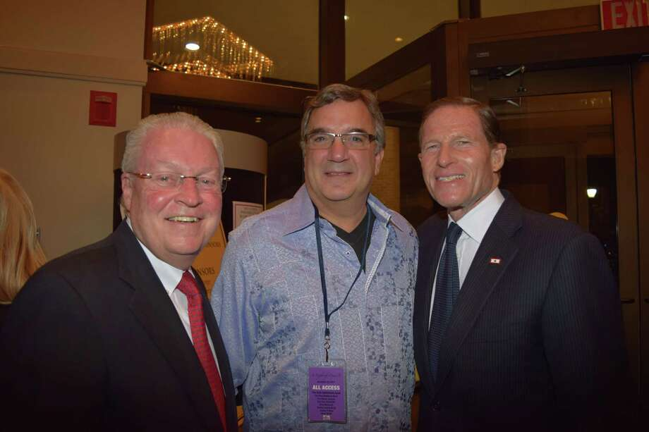 Fairfield First Selectman Michael C. Tetreau(L), Stuart Marcus, M.D., President & CEO, St. Vincent's Medical Center(M) and Sen. Richard Blumenthal(R): A Night of Music presented by St. Vincent's Medical Center took place at Fairfield University's Regina A. Quick Center on November 22, 2014. The event, which featured a cocktail hour, special guests and live music from Rick Derringer and others, benefited the Lebo-DeSantie Center for Liver and  Pancreatic Disease. Were you SEEN? Photo: Todd Tracy / Hearst Connecticut Media Group
