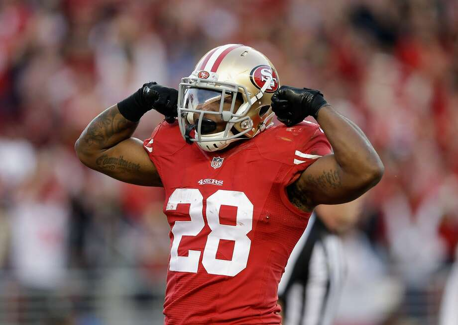 Carlos Hyde of the 49ers celebrates a touchdown in the fourth quarter against Washington at Levi's Stadium on Nov. 23 in Santa Clara. Photo: Ezra Shaw, Getty Images